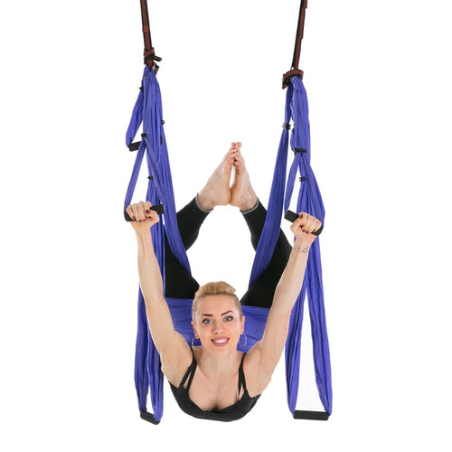 Aerial Yoga Swing Set - Yoga Hammock/Trapeze/Sling Kit + Extension Straps - Antigravity Ceiling Hanging Yoga Sling - Inversion Swing for Beginners & Intermediate