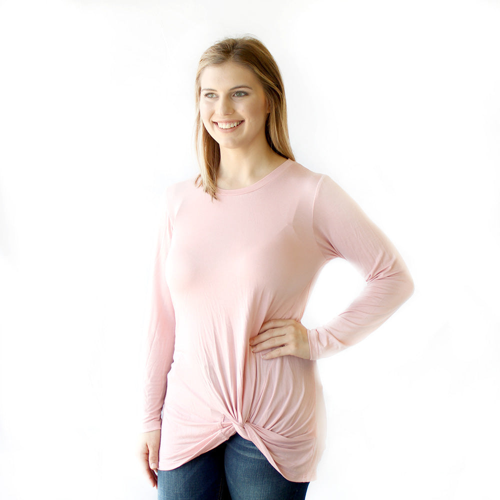 Long Sleeve Knot Top Blush - Owl Cove