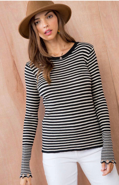 Frayed Edge Striped Top - Owl Cove