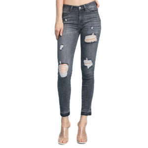 Judy Blue Grey Destroyed Skinny Jeans - Owl Cove