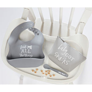 Gray Silicone Feeding Set - Owl Cove