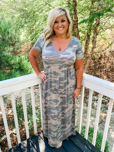 V-neck Camo Maxi Dress - Owl Cove