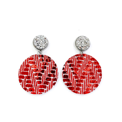 Druzy Stud & Metallic Christmas Red Shimmer Leather Earrings