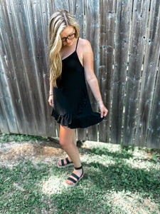 Tatted Back Black Dress - Owl Cove