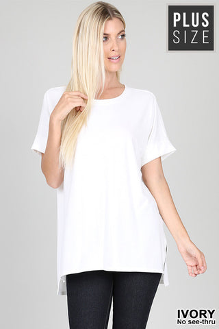Plus Rolled Sleeve High-Low Hem