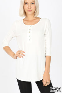3/4 Sleeve Hem Shell Button - Owl Cove
