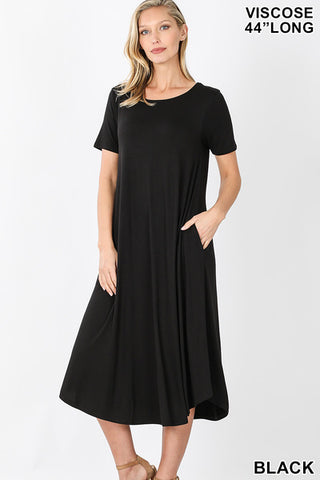 Viscose Short Sleeve Round Neck Dress - Owl Cove