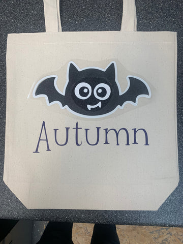 Personalized glow in the dark Trick or Treat bag.