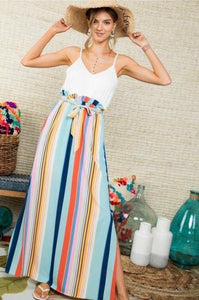 Lola Multi Colored Stripe Long Dress - Owl Cove