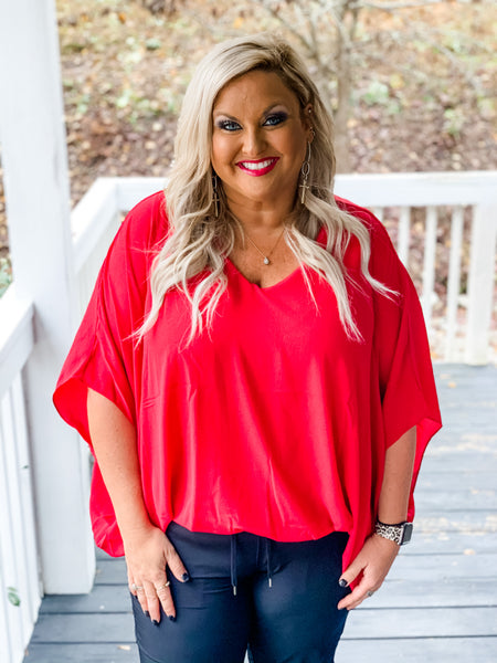 Dolman Sleeved V-neck