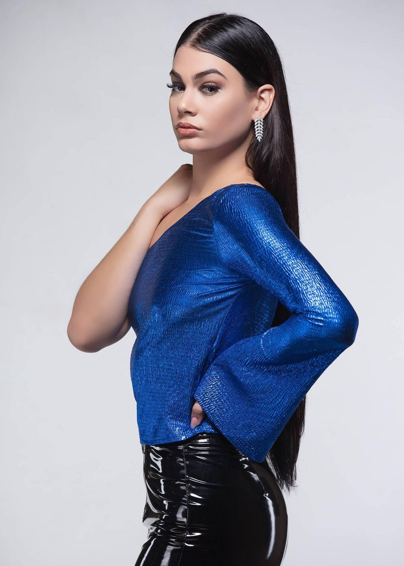 Amelia Blue Blouse - Be Zazzy