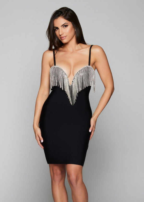 Julie Black Crystal Bandage Dress