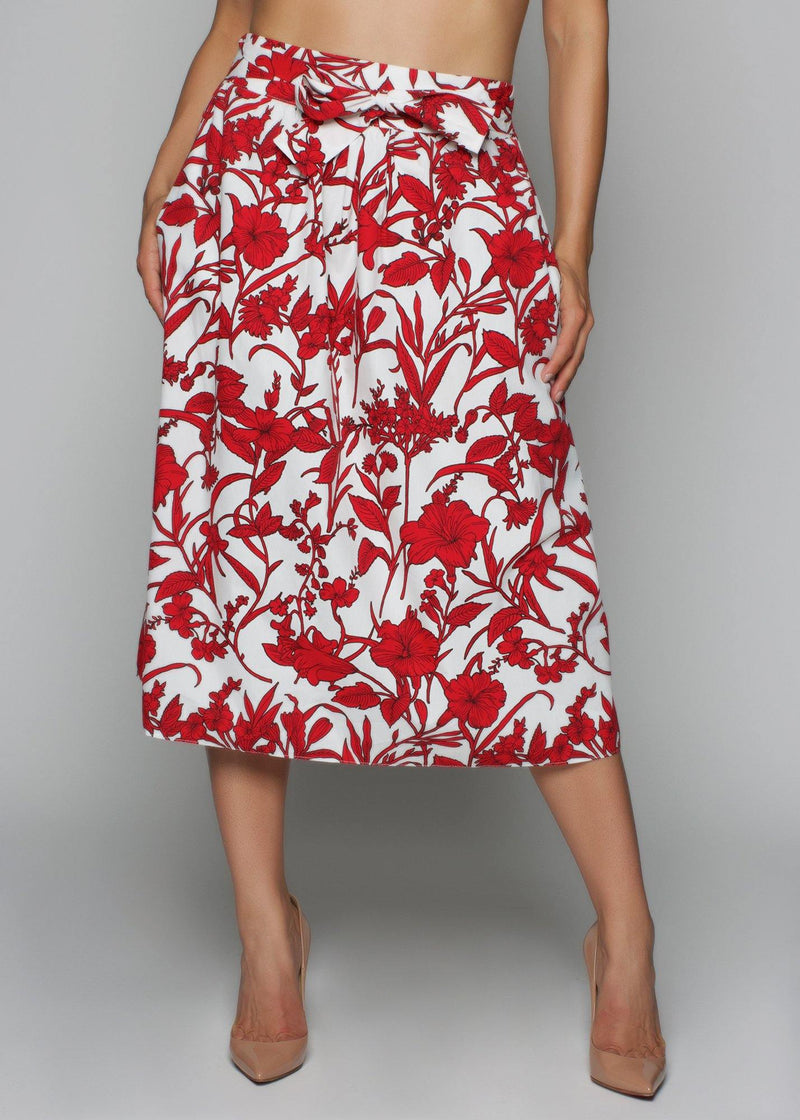 Featuring a red floral print skirt With bow detail Summer / casual  Elastic waist  Pullover style  Midi length skirts 100% viscose