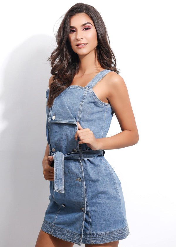 FANCY DENIM DRESS - Be Zazzy