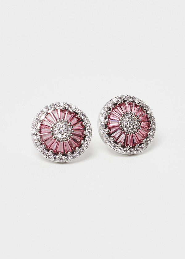 Cubic Zirconia Silver Pink Earrings