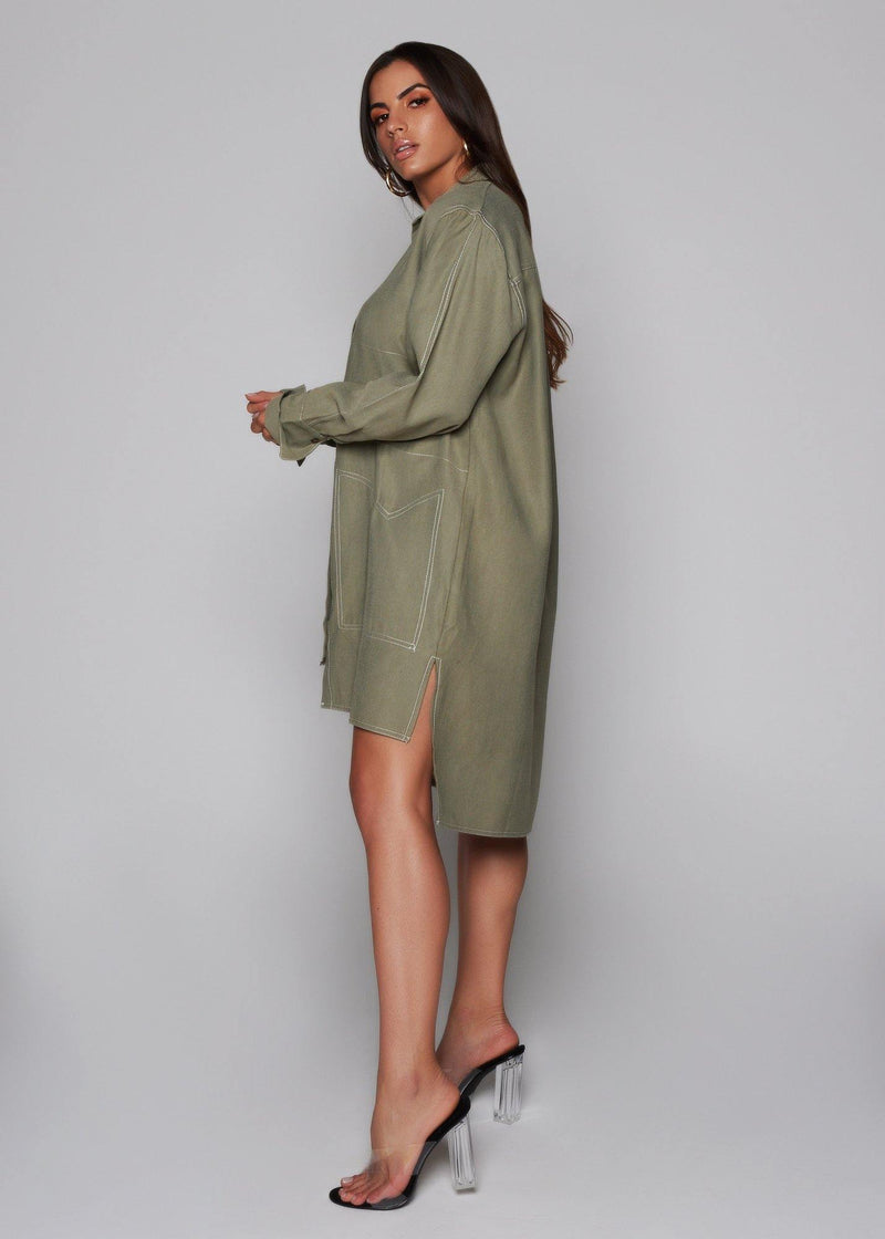 Olive color dress Functional front buttons Oversized dress Long sleeve Classic and summer style  High-low hem 100% tencel  green dress