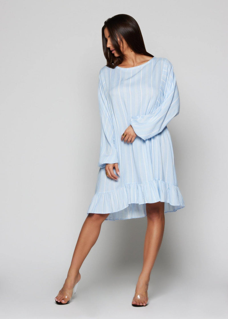 Round neck, Relax fit Oversized dress Long sleeve Light Blue color with white lines Classic and summer style High-low hem Everyday wear