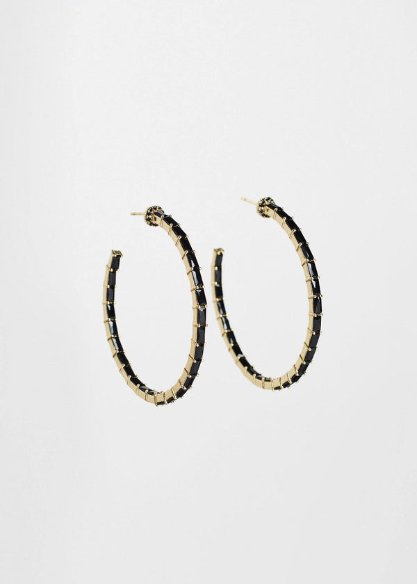 Hoop Pierced Earrings Black and Gold