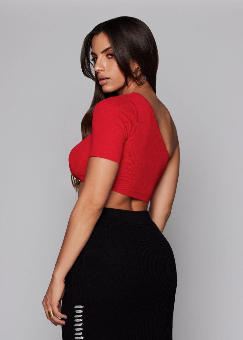 One-shoulder bandage crop top Top pullover style Stretch crop top Red color All-season Comfortable for everyday wear Machine wash with cold water 70% Rayon - 30% Nylon