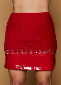 Avril Red Faux-Leather Skirt