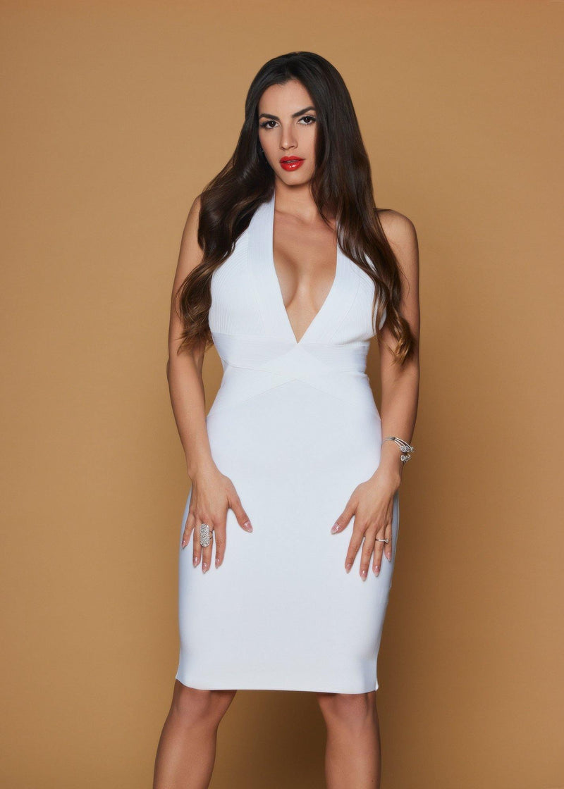 Patrina White Bandage Dress - Be Zazzy