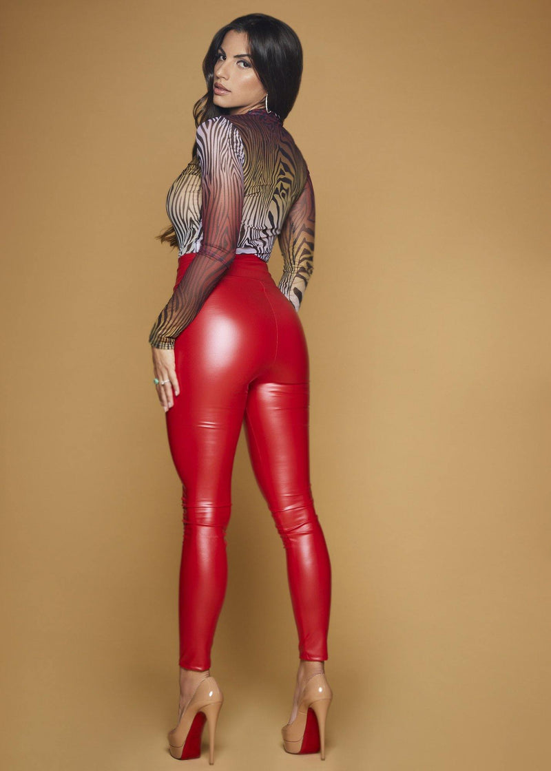 Ana Red Faux Leather Leggins