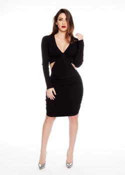 DIANA BLACK DRESS - Be Zazzy vestido negro black dress short corto moda mangas largas bezazzy elegante fiesta nuevo sexy