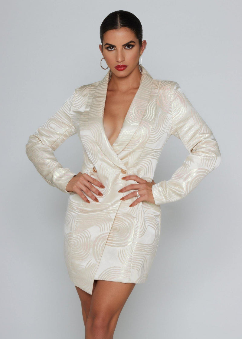 BRAND: Blithe Champagne blazer dress Long Sleeve A-Line Blazer Functional front bottoms True to size. Cocktail / party. Above knee-length 100% POLYESTER Dry-clean Model measures: Height: 1.65, Chest: 89, Waist: 64, Hip: 92; Sample size: S / 36/1