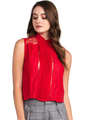 LACE RED BLOUSE - Be Zazzy