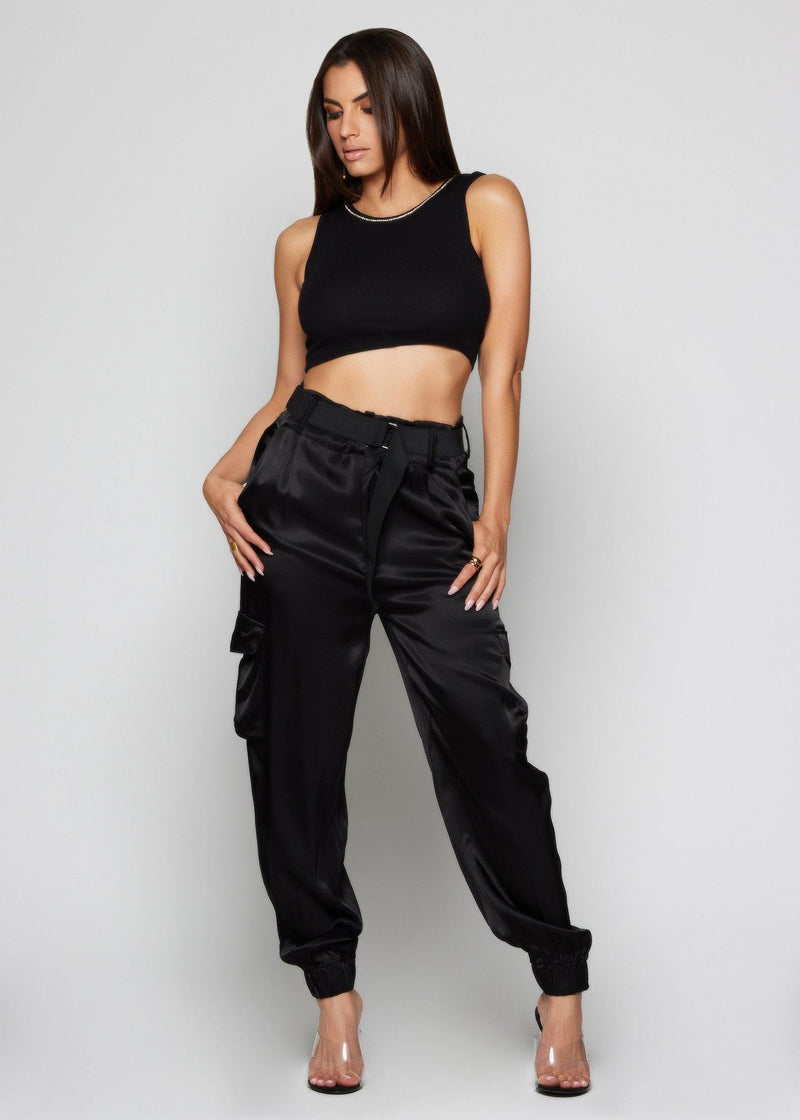 Lia Black Crop Top - Be Zazzy