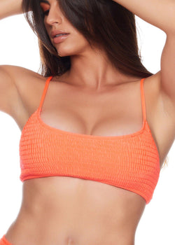 Bikini top Orange color Comfortable and sexy Fits your curves Adjustable straps Stretched material  Pullover style  89% nylon - 11% spandex