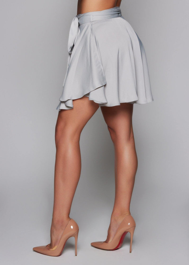 Solid silver color skirt Cocktail / Party skirt Adjustable skirt All season Lightweight relaxed fit 100% Polyester (PES)