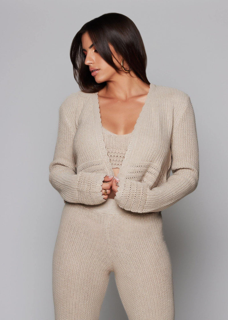 Keep super cozy in Resort Nude Cardigan  Jacket style  Summer style Cover up Relaxed fit Nude color Long sleeve Everyday wear Crochet style 50% acrylic -  50% cotton