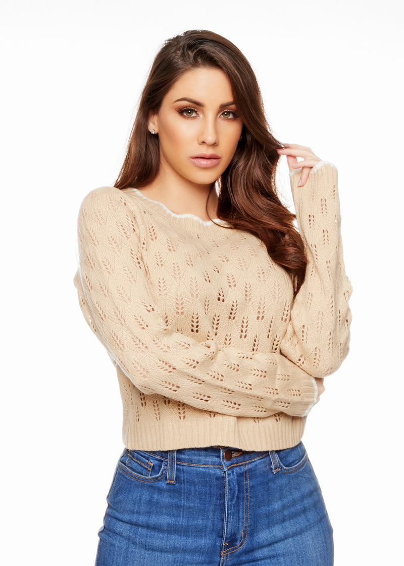 SALLY NUDE SWEATER - Be Zazzy Nude sweater mangas largas moda comodo confortable sexy moderno beige jeans