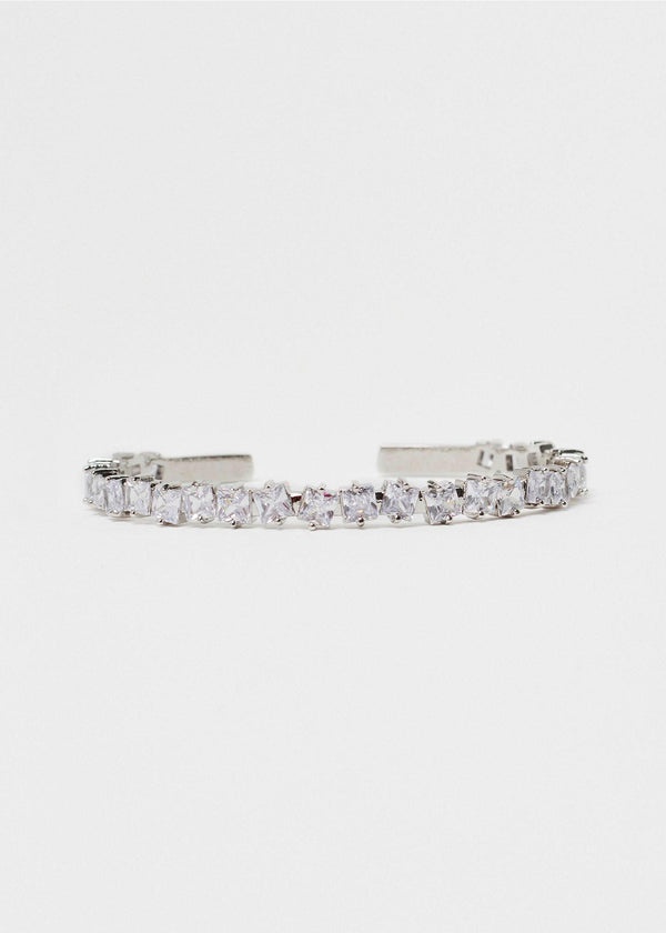 Square CZ Gemstone Silver Bangle