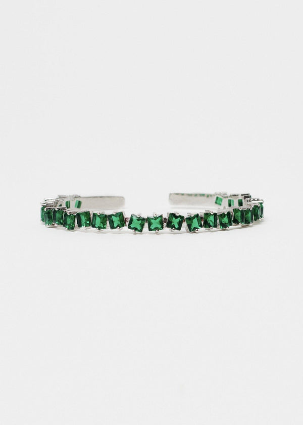 Square CZ Gemstone Silver Green Bangle