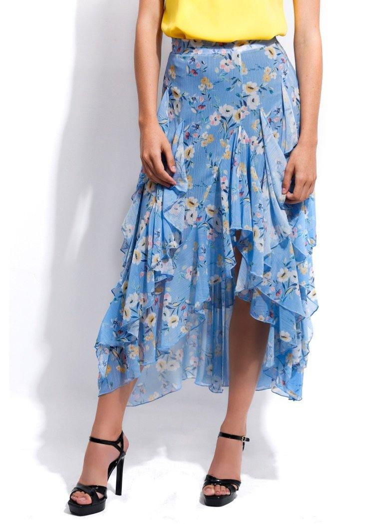 EMA RUFFLED FLORAL SKIRT - Be Zazzy