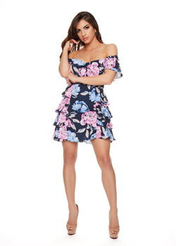 YOUNG LOVE DRESS - Be Zazzy dress vestido corto colores flores sexy vestido salida azul rosado flores bezazzy