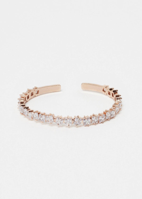 Square CZ Gemstone Rose Gold Bangle