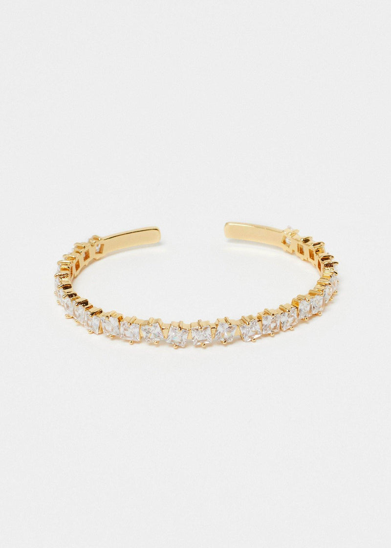 Square CZ Gemstone Gold Bangle