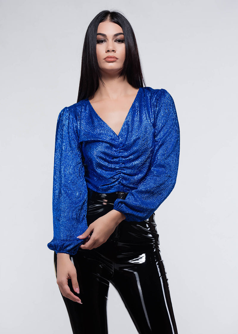 Renata Blue Blouse - Be Zazzy