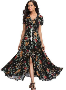 Flower Print Casual Summer Split Maxi Dress - New Trend Clothing
