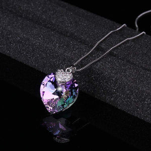 Heart Amethyst Crystal Pendant Swarovski Necklace - New Trend Clothing