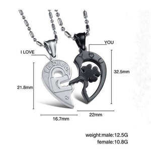 Fate Love Silver Black Split Joint Heart Pendant Couple Necklaces - New Trend Clothing