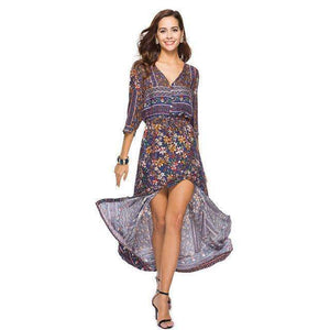 Boho Elegant Beach Robe Elegant Vintage Maxi Dress - New Trend Clothing