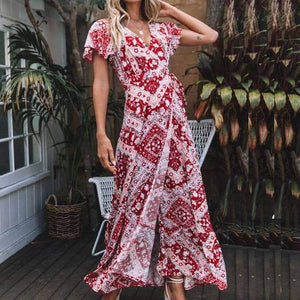 Summer Floral Print Boho V-neck High Split Beach Maxi Dresses - New Trend Clothing