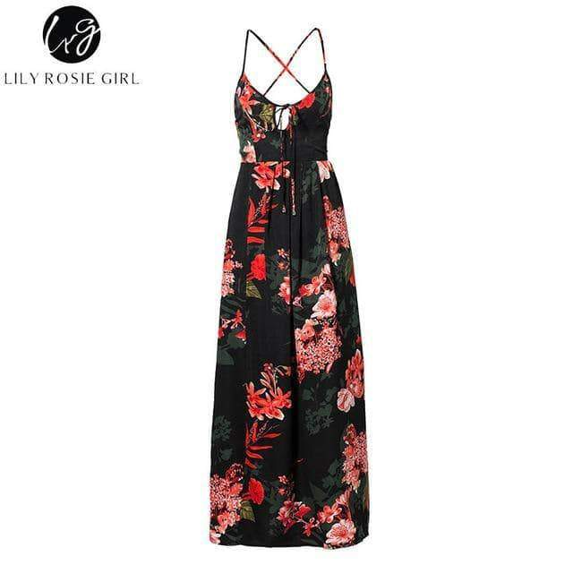 Lily Rose Floral Print Summer Split Backless Beach Maxi Dress - New Trend Clothing
