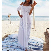 Load image into Gallery viewer, Bohemian Lace Cotton Patchwork White Off Shoulder Maxi Dress - New Trend Clothing