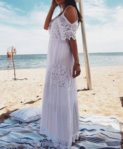 Bohemian Lace Cotton Patchwork White Off Shoulder Maxi Dress - New Trend Clothing