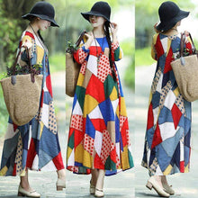 Load image into Gallery viewer, Ethnic Loose Plus Size Vintage Colorful  Long Sleeve Maxi Dress - New Trend Clothing